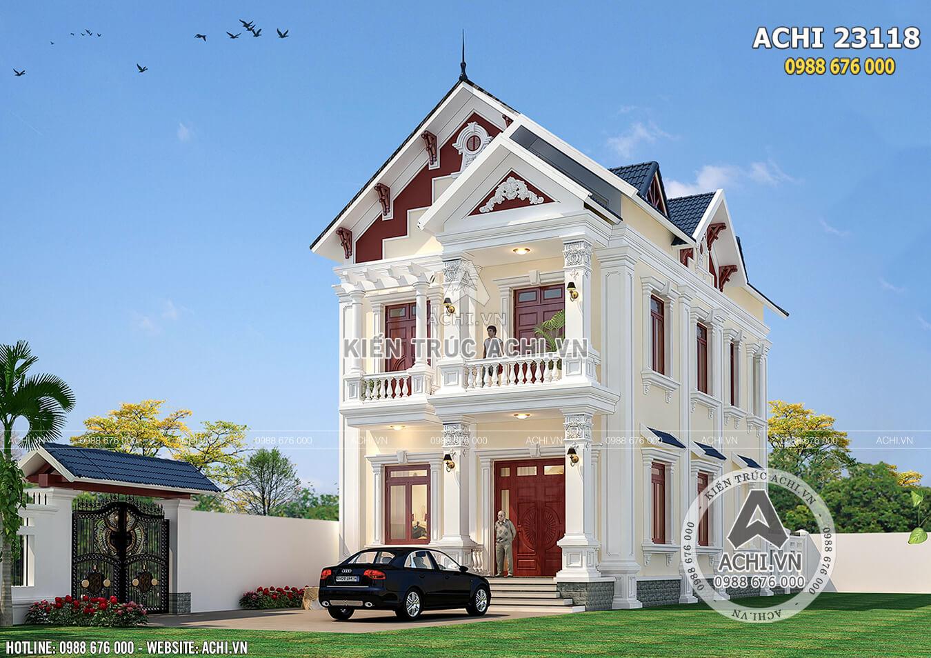Hình ảnh: Một góc view của biệt thự 2 tầng tân cổ điển tại Thanh Hóa – ACHI 23118