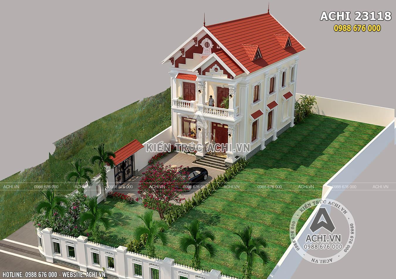 Hình ảnh: Mẫu nhà 2 tầng mái thái mặt tiền 8m nhìn từ trên cao– ACHI 23118