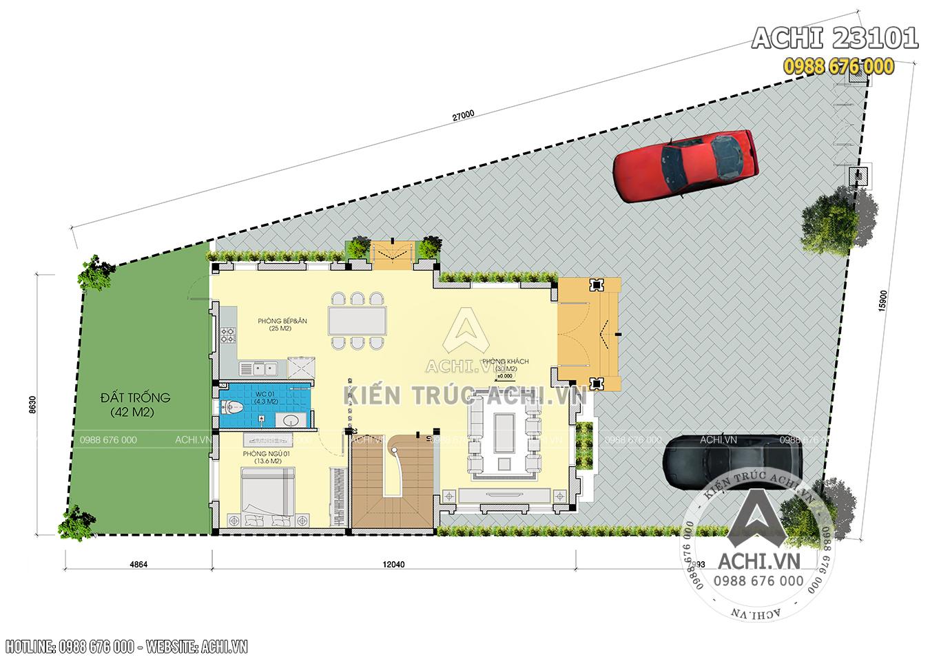 Hình ảnh: Mặt bằng tổng thể mẫu thiết kế biệt thự 2 tầng hiện đại – ACHI 23101